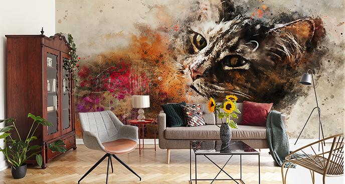 Abstrakte Fototapete Katze