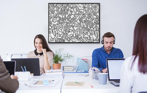 Abstraktes Poster in Schwarz-Weiß