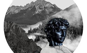 Antike Skulptur in den Bergen