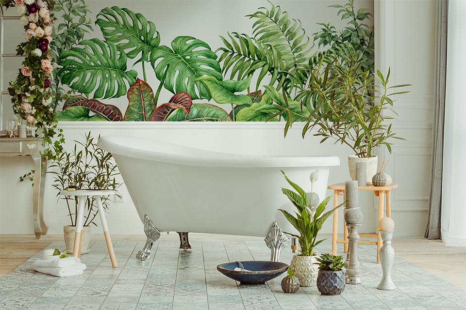 Fototapete grüne Blätter im Badezimmer voller Pflanzen