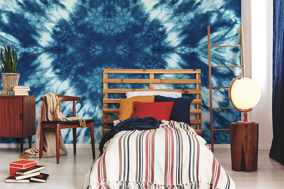Fototapete, inspiriert durch Tie Dye in einem Jugendzimmer