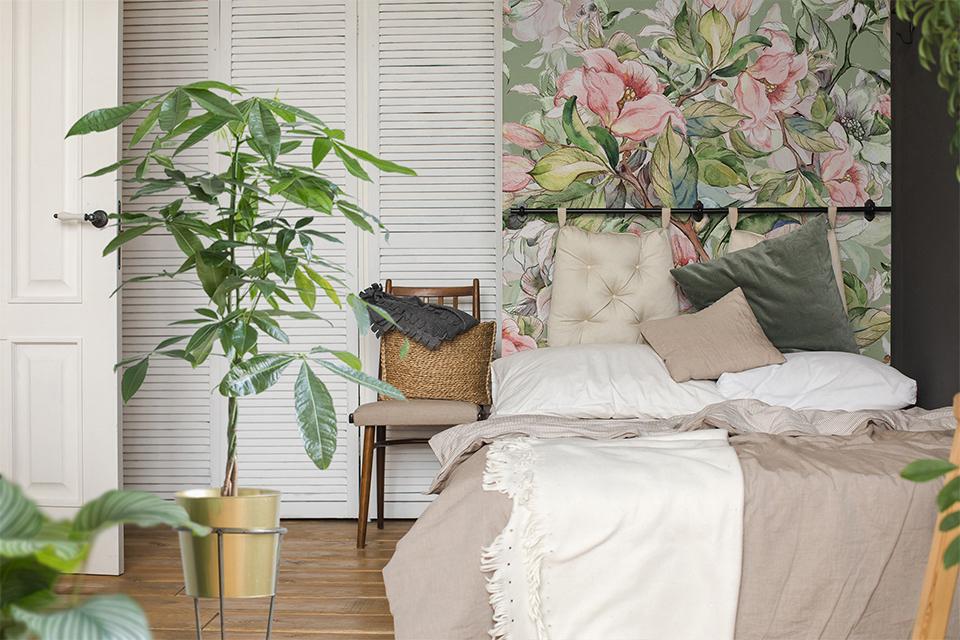 Pflanzenfototapete im Schlafzimmer