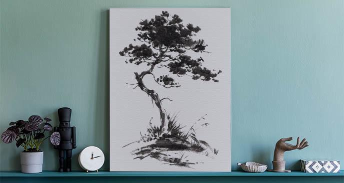 Bild Baum zwischen Gräsern