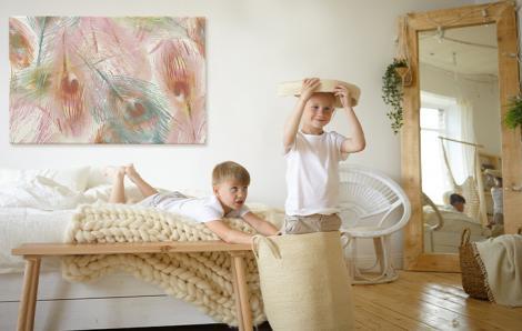 Bild fürs Schlafzimmer mit Federn