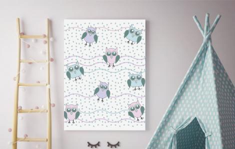 Bild für ein Kinderzimmer mit Eulen