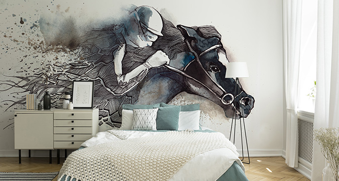 Eine Fototapete die Pferderennen symbolisiert