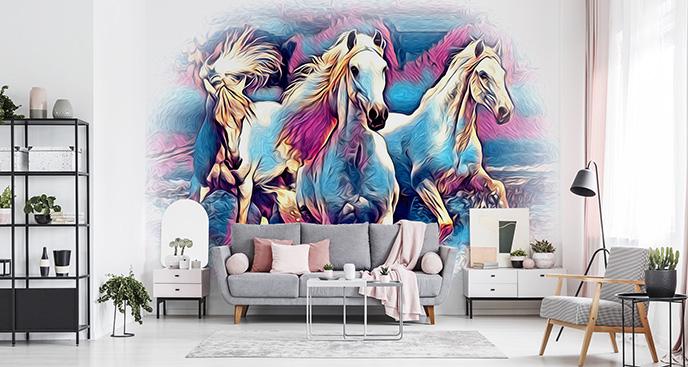 Farbige Fototapete Pferde