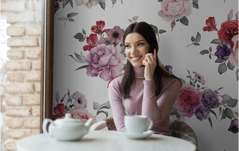 Florale Fototapete für Restaurants