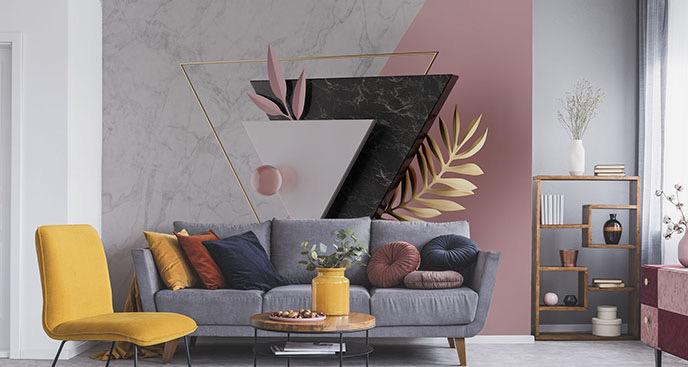 Fototapete 3D Dreiecke und Blätter