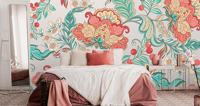 Fototapete Blumenmuster für Schlafzimmer