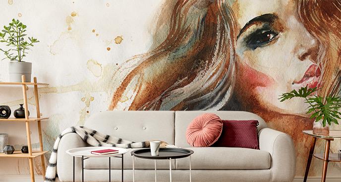 Fototapete Frau im Malerei-Stil
