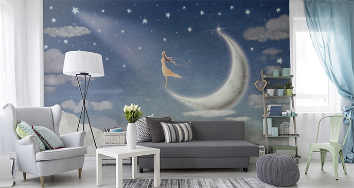 Fototapete fürs Mädchenzimmer Mond