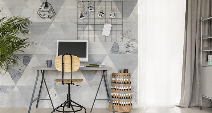 Fototapete graue Dreiecke fürs Büro