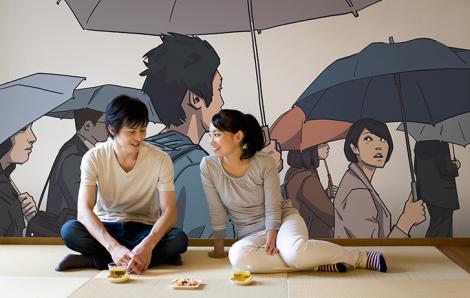 Fototapete Menschen unter Regenschirmen