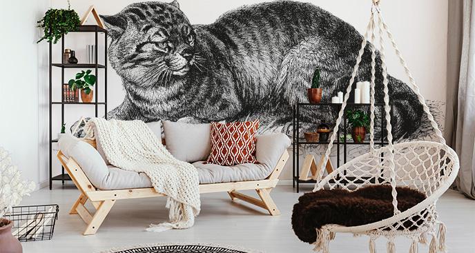Fototapete mit einer gestreiften Katze