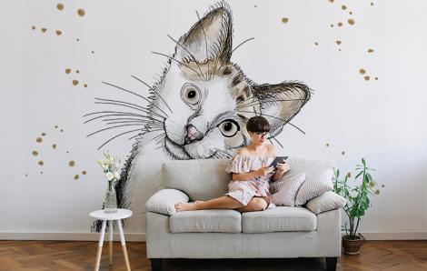 Fototapete mit einer weißen Katze