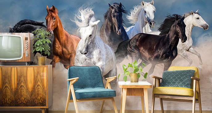 Fototapete Pferde im Wüstenstaub