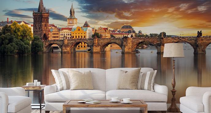 Fototapete Prag bei Sonnenuntergang