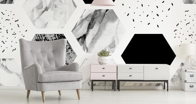 Fototapete schwarz-weiße Textur