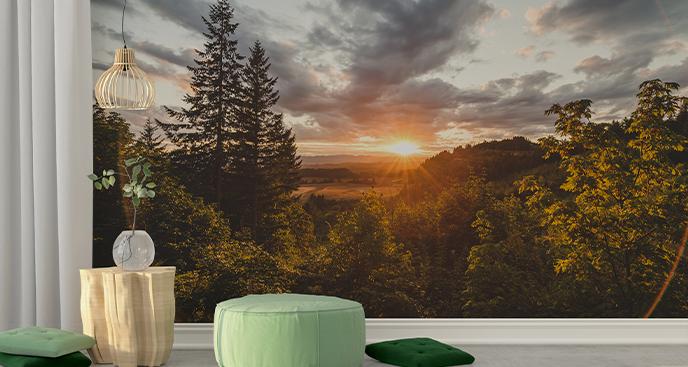 Fototapete Sonnenuntergang im Wald