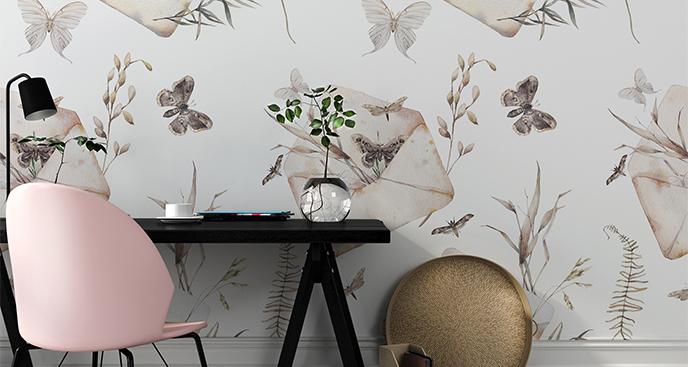 Fototapete Umschläge und Schmetterlinge