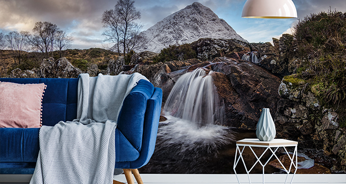 Fototapete Wasserfall im Winter