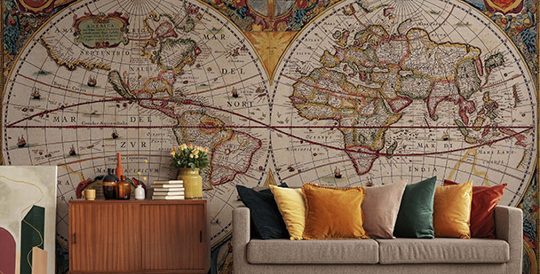 Fototapete Weltkarte auf Halbkugeln