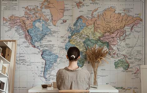 Fototapete Weltkarte in Farbe