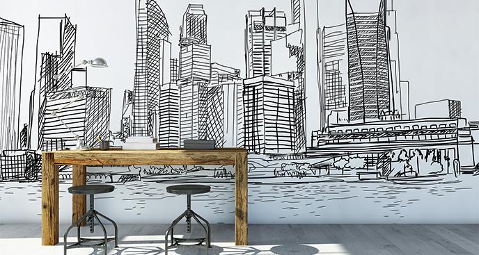 Fototapete Zeichnung mit Hochhäusern