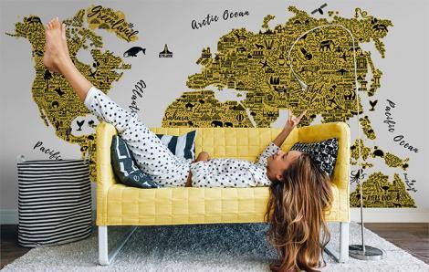 Gelber Weltkartenaufkleber