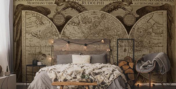 Historische Fototapete Weltkarte