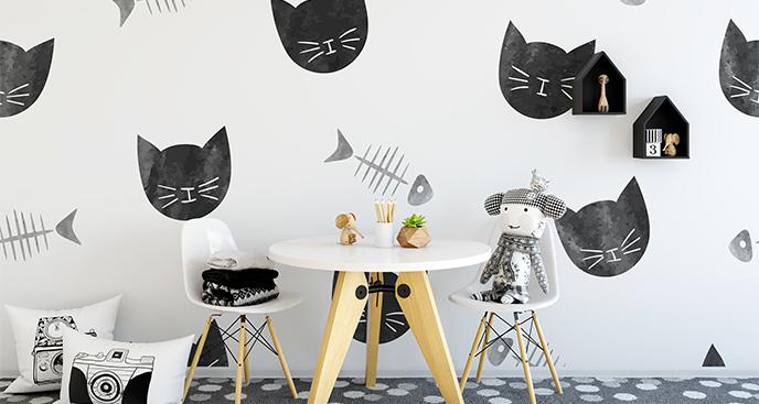 Jungenzimmer-Fototapete schwarze Katzen