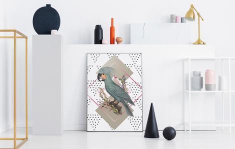 Kakadu Palm- und geometrische Variation auf einem Poster