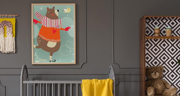 Kleinbär Poster auf Eisbahn
