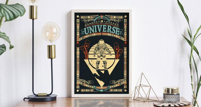 Kosmisches Poster mit einem Astronauten