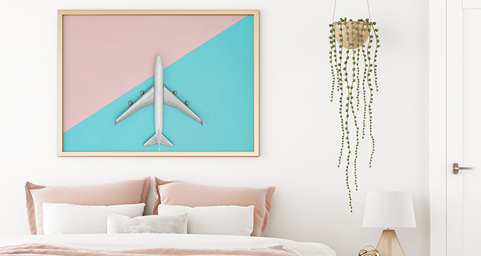 Minimalistisches Poster mit Flugzeug