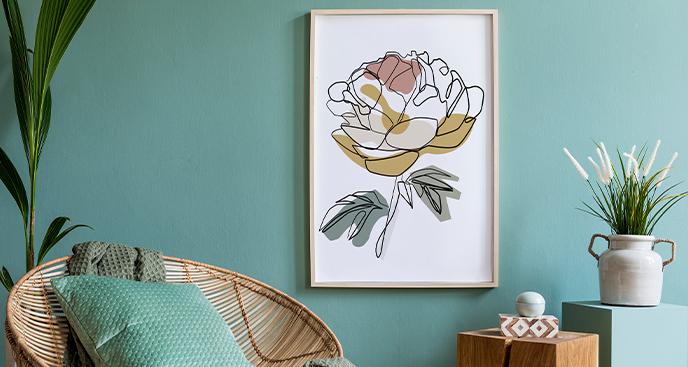 Minimalistisches Poster mit Rose