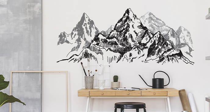 Monochromer Sticker Berge