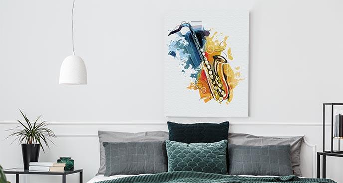 Musisches Bild Saxophon in Aquarell