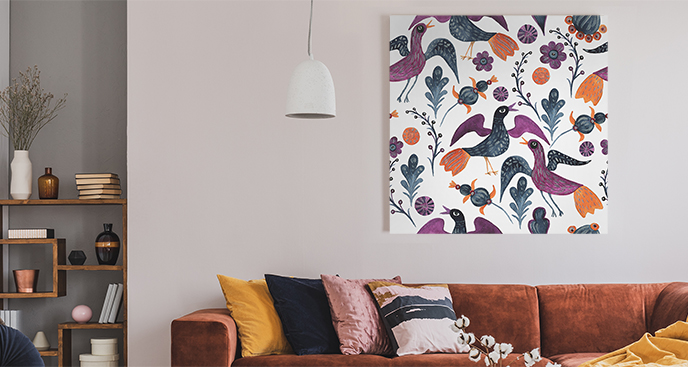 Ornamentbild mit Vögeln