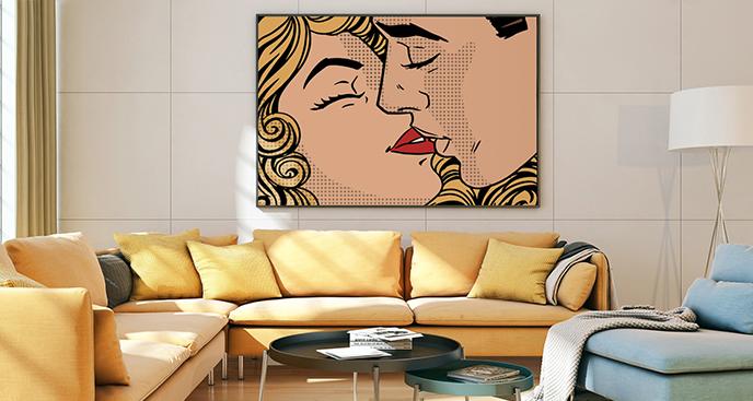 Pop-Art-Poster Kuss