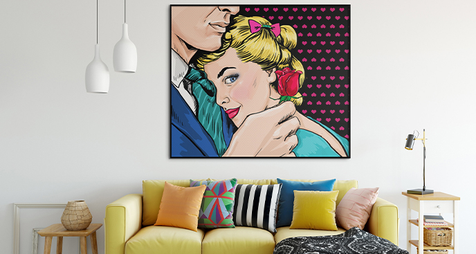 Pop-Art-Poster mit einem Paar