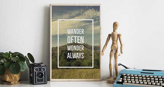 Poster Aufschrift mit Landschaft