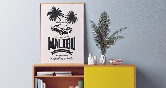Poster Auto unter Palmen