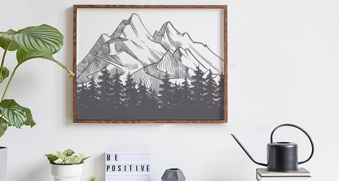 Poster Berge - Skizze