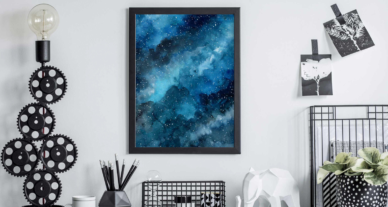 Poster blaue Galaxie