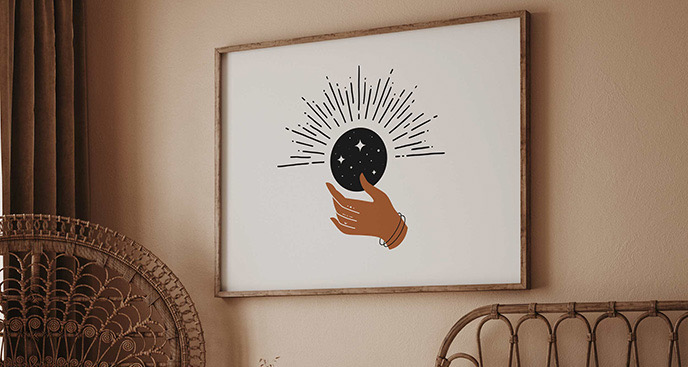 Poster Boho: Mond und Hand