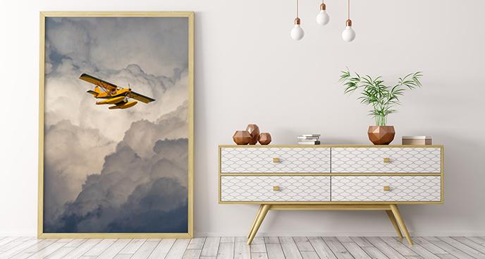 Poster Flugzeug in den Wolken