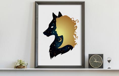 Poster goldene Frau und Wolf