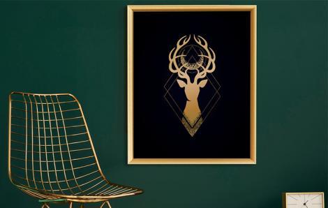 Poster goldener Rehbock